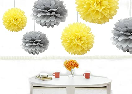 Amazon kubert pom poms 12 pcs tissue paper flowers yellow kubert pom poms 12 pcs tissue paper flowers yellow silver 3 mightylinksfo