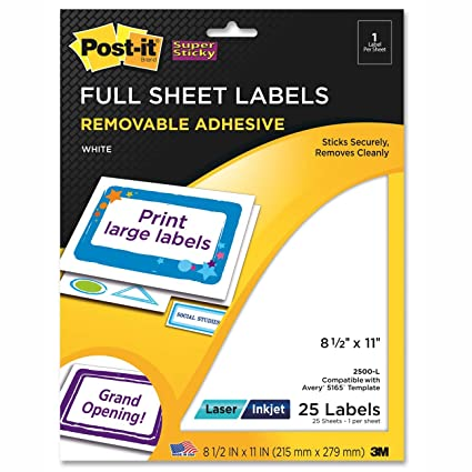 Post It Super Sticky Removable Full Sheet Labels 8 5 X