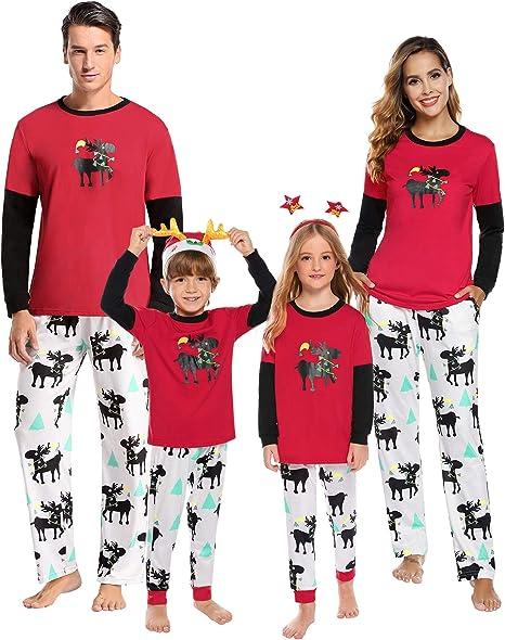 Aibrou Pijama de Navidad Familia Set Algodón, Invierno Casual Ropa ...