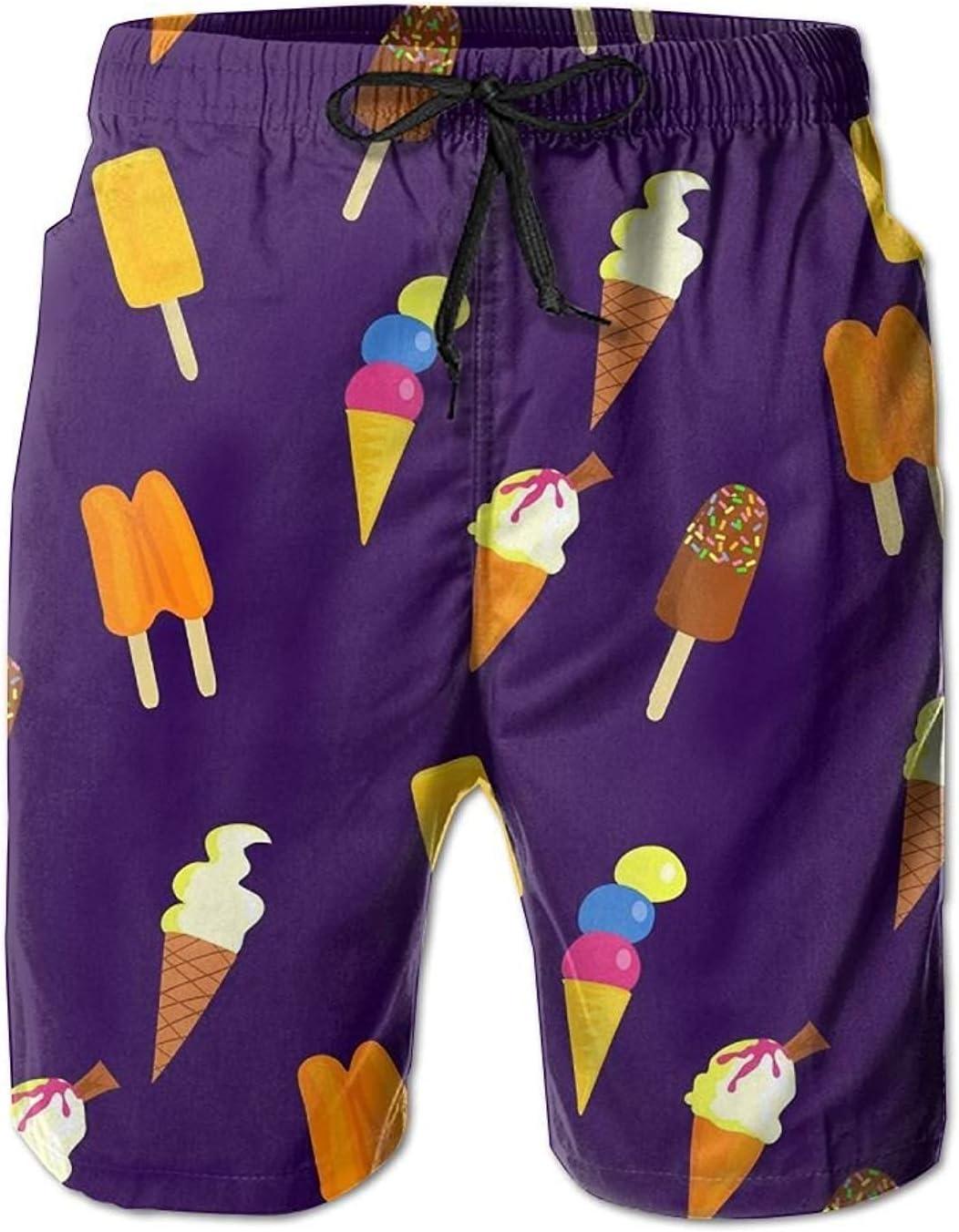 Mens Ice Cream Colorful Pattern Swim Trunks Boardshorts with Pokets Beach Shorts