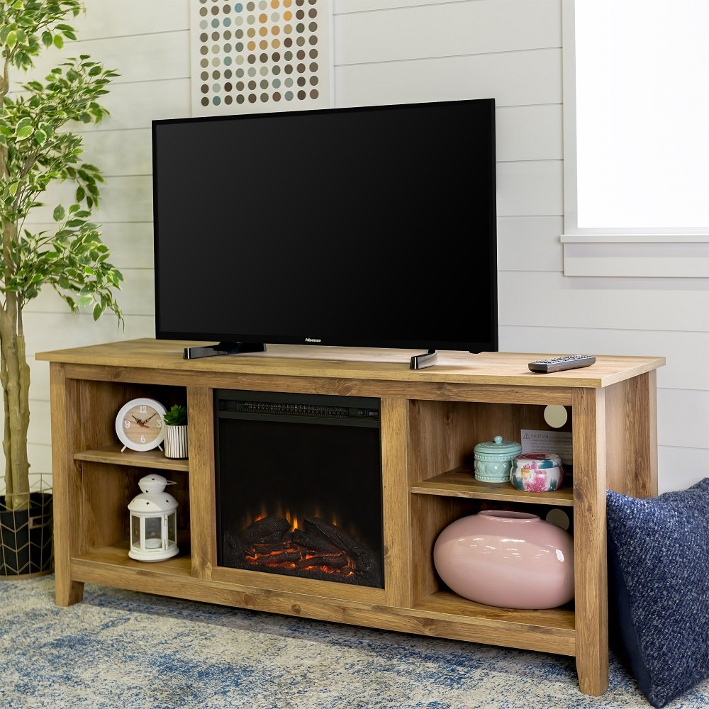 New 58 Inch Wide Honey Colored Television Stand with Fireplace Insert