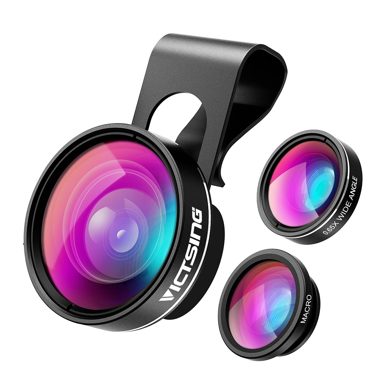 VicTsing 3 in 1 Fisheye Camera Lens, Macro Lens, 0.65X Wide Angle Lens, Clip on Cell Phone Lens Kits for iPhone 7, 6s, 6, 5s, Android and Most Phones by Vic Tsing