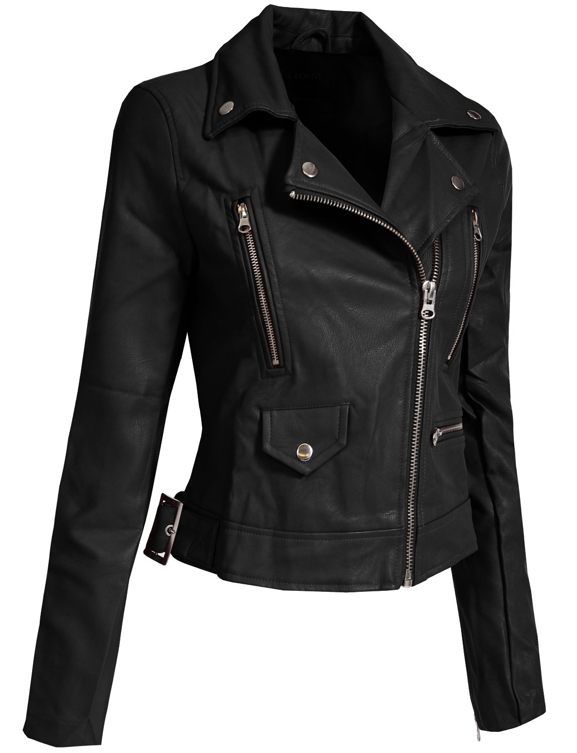 J. LOVNY Women's Fitted Faux Leather Zip Up Moto Jacket With Hoodie by J. LOVNY