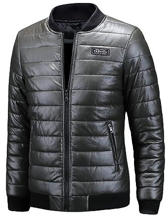 Premium-Auswahl de50f ba7dd Belloo Herren Bomberjacke Jacke Leder Winter Daunenjacke ...