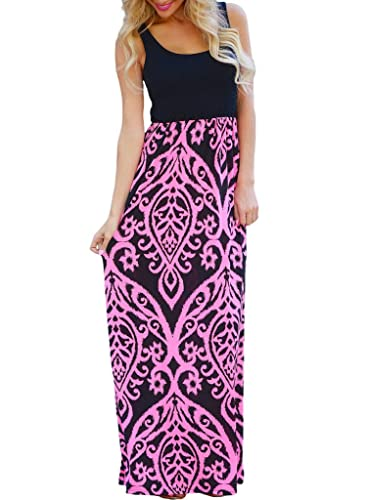 Chase Secret Womens Casual Scoop Neck Summer Boho Long Maxi Dress