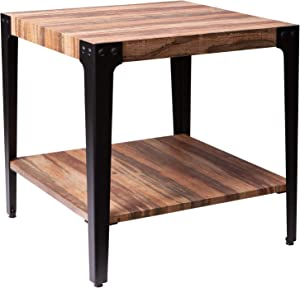 IRONCK End Tables Living Room, Side Table with Storage Shelf, Wood Look Accent Industrial Home Furniture, Thicker MDF Board with Frame, Vintage Brown
