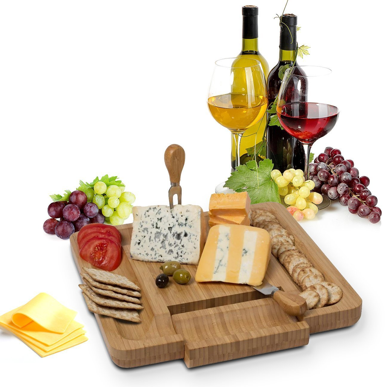 Bamboo Cheese Board With Cutlery Knife Set -Meat Wood Charcuterie Serving Platter Tray Equipped Drawer That Slides Out And Swings Fully. Comes With 4 Stainless Steel Knifes Server Set By House Ur Home