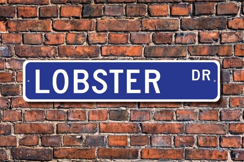 Dise/ño de Langosta con Texto en Ingl/és Lobster Gift Sign Decor Lover Seafood Menu Aersing Placa Decorativa para Puerta de Dormitorio