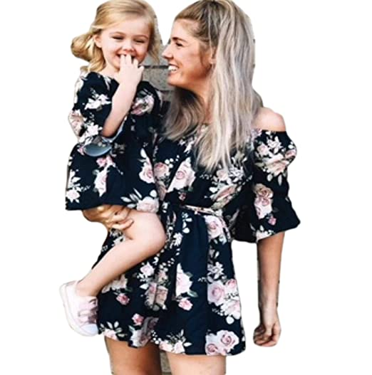 7b64099362eb Long Sleeve Plaid Family Dress with Mom and Girl Matching Clothes at ...