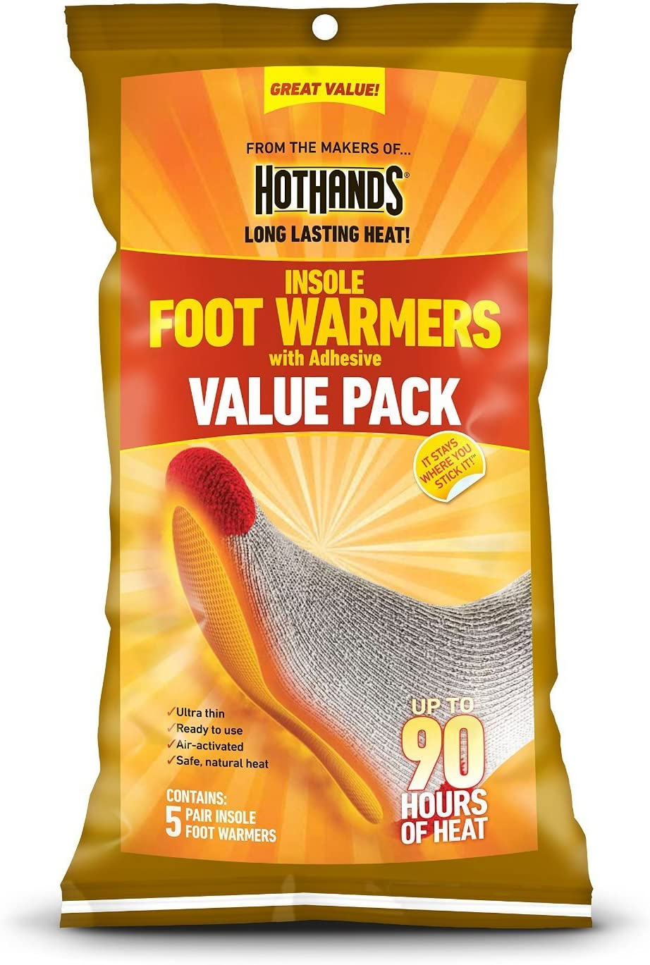 HotHands Insole Foot Warmer 10 Pair Value Pack