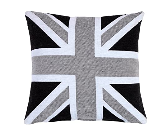 EHC Chenille Jacquard Union Jack Cushion Cover, Black/Grey