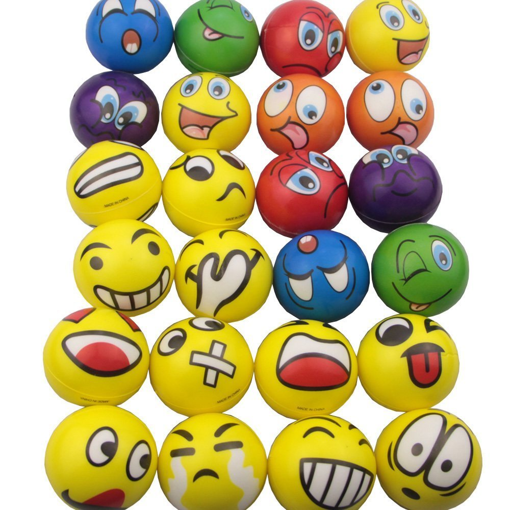 Mydio Set of 24 Emoji Stress Balls,Stress Reliver Party Favor,Soft PU Ball, Assorted Colors,Random Pattern,Party Toys,24 Pack (Emoji) by Mydio