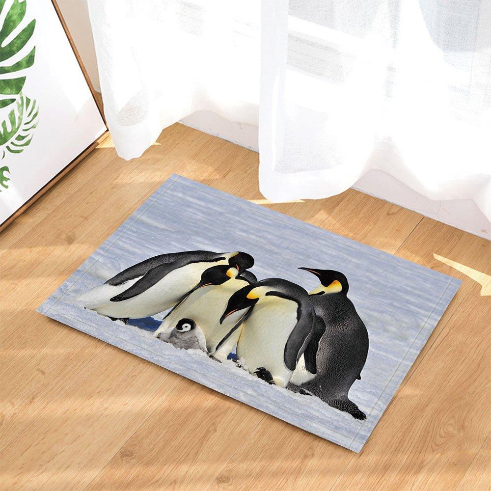 NYMB Sea Animals Decor, Emperor Penguins with Chick Fight for Adopting Bath Rugs, Non-Slip Doormat Floor Entryways Indoor Front Door Mat, Kids Bath Mat, 15.7x23.6in, Bathroom Accessories