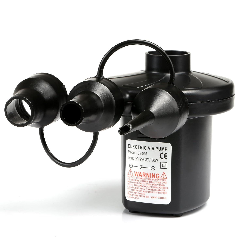 Moncolis Bomba de aire eléctrica para colchón de aire Manguera Barcos Bomba eléctrica con fuente de alimentación 230 V adaptador para encendedor de ...
