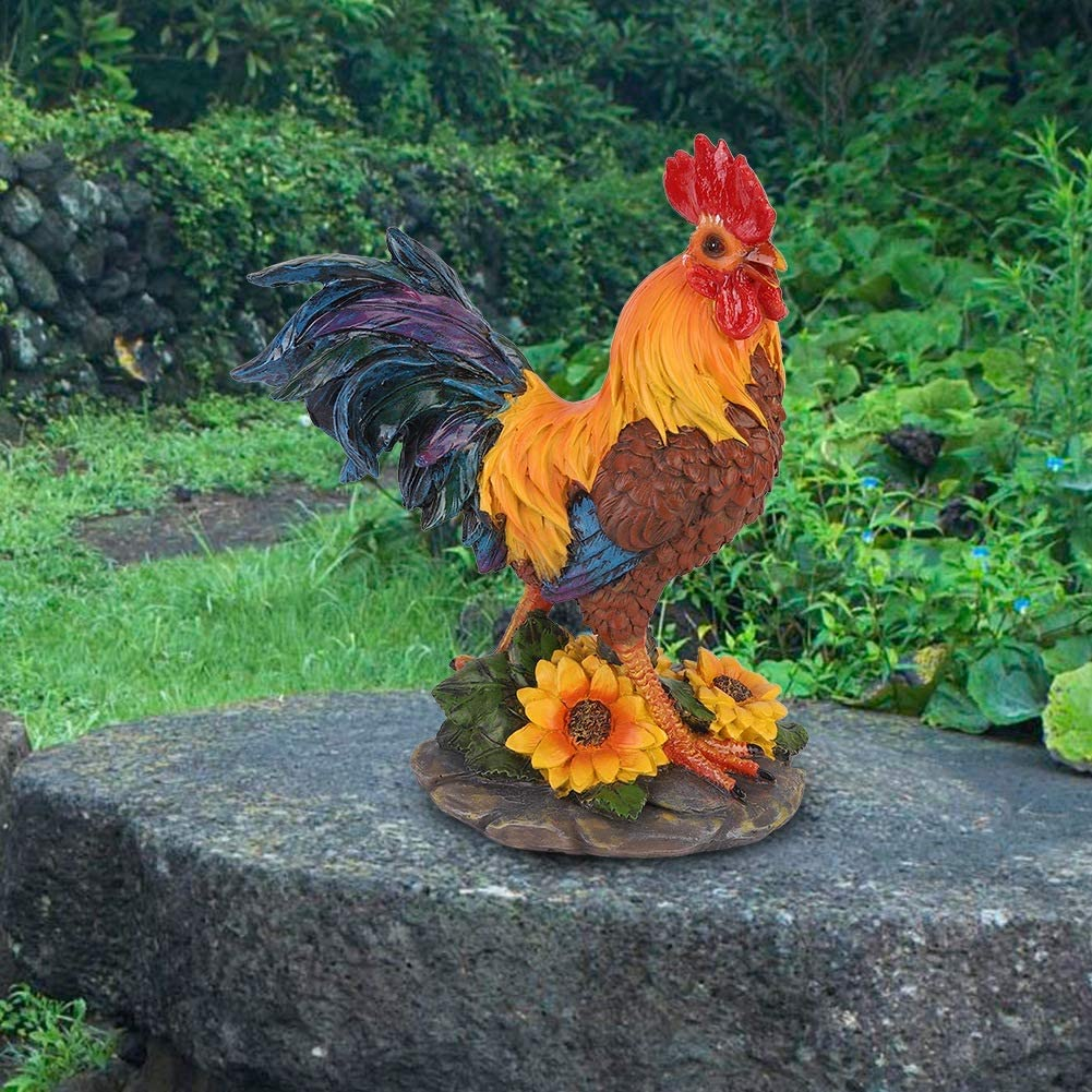 AMONIDA High Simulation Exquisite Workmanship Rooster Ornament, Rooster Statue, Courtyard Lawn for Backyards Community Outdoor Garden(Red-Brown Small Rooster on The Left)