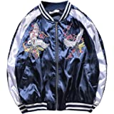 LETSQK Men's MA-1 Air Force Crane Embroidery Lightweight Baseball Bomber Jacket
