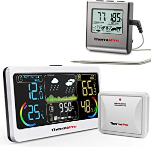 ThermoPro TP-16 Large LCD Digital Cooking Food Meat Smoker Oven Kitchen BBQ Grill Thermometer ThermoPro TP68B 500ft Weather Station Indoor Outdoor Thermometer Wireless Hygrometer Barometer