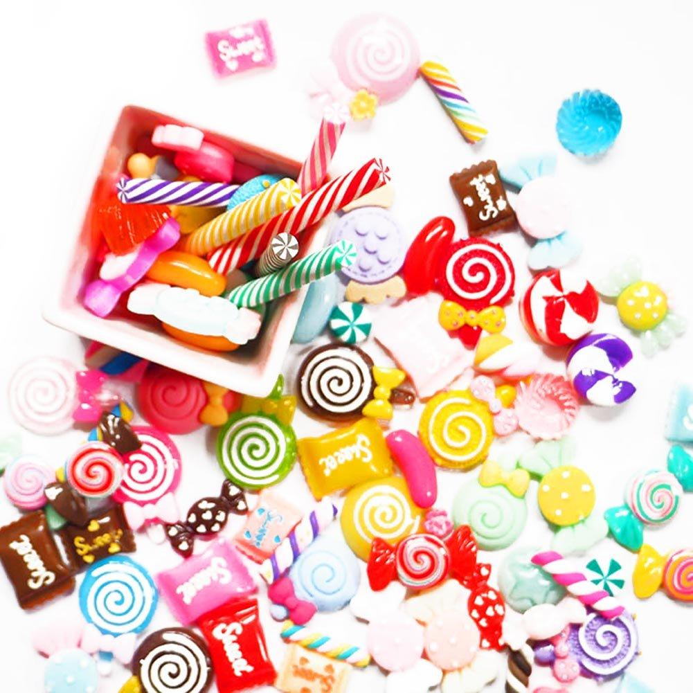 Adealink 30 Pcs DIY Scrapbooking Phone Case Decor Crafts Miniature Fake Resin Lollipop Candy Accessories