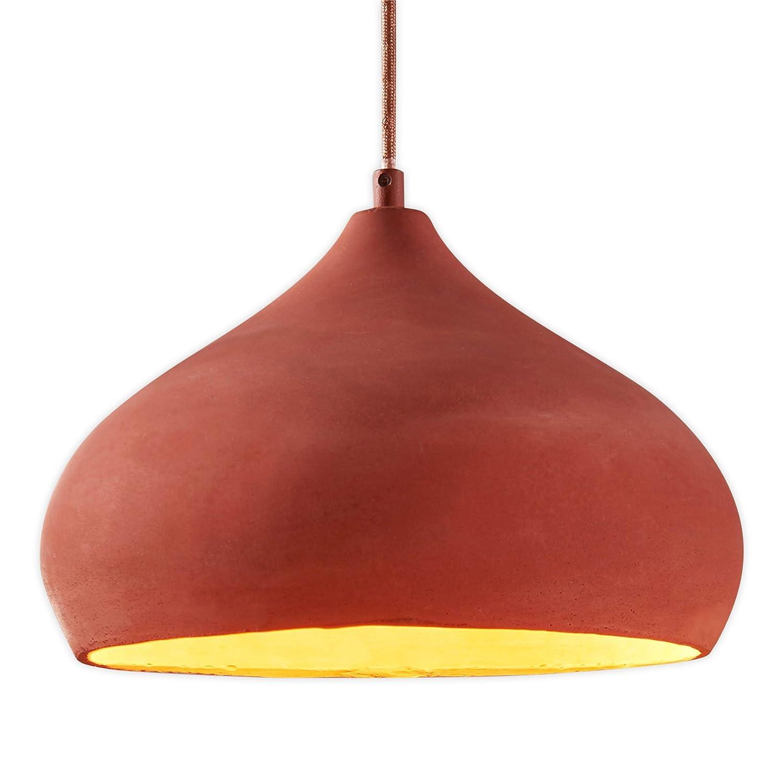 Lampenwelt Beton Pendelleuchte 'Fiona' dimmbar (Mediterran, Orientalisch) in Terracotta aus Beton, u.a. für Wohnzimmer & Esszimmer (1 flammig, E27, A++) | Esstischlampe, Hängelampe, Hängeleuchte