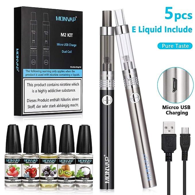 Vaper Cigarros Electronicos, MONVAP M2 Ecig, 2 * Vape Pen + 5* E Liquido, 1.6ohm 2ml, Battería Recargable Cigarrillos Electronicos, E Cigarette Sin Nicotina ...