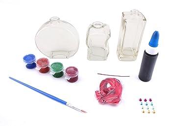 Purpurina Set De Pintura con 3 Botellas De Vidrio Crear Pintar Su Propio