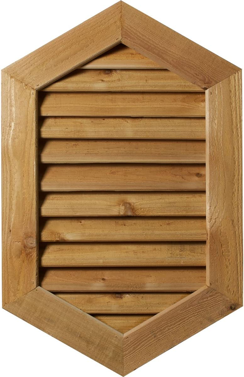 """Ekena Millwork GVWVP24X2201RFPWR-06 Primed, Functional, Rough Sawn Western Red Cedar 24"""" Width X 22"""" Height Vertical Peaked Gable Vent with 1"""" x 4"""" Flat Trim Frame"""