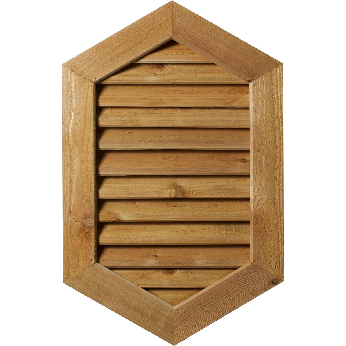 Ekena Millwork GVWVP20X1601SFUWR-09 Unfinished, Functional, Smooth Western Red Cedar 20'' Width X 16'' Height Vertical Peaked Gable Vent with 1'' x 4'' Flat Trim Frame