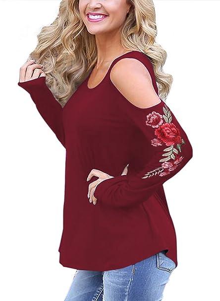 Zhaoyun Camiseta de mujer estampado floral hombro frío manga larga blusa casual Rojo-M