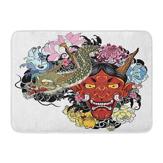 Soefipok Alfombra de baño Máscara de Demonio japonés Oni Negro ...