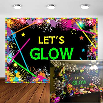 Lets Glow 80s 90s Party Wallpaper Decoration Photography Background Backdrop Graffiti Backdrop FT-4357