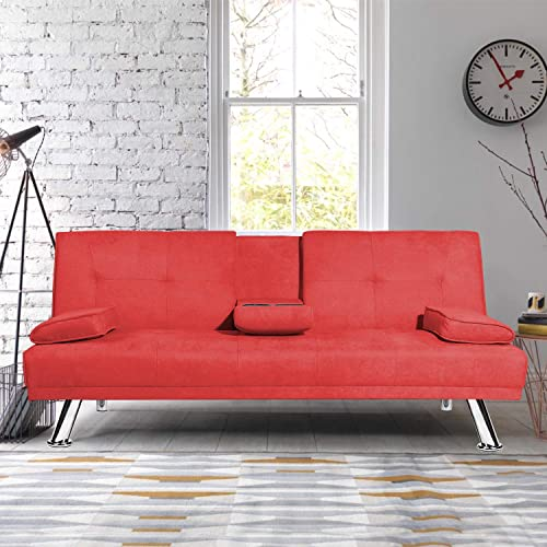 MIERES Modern Folding Futon Sofa Living Room w Metal Legs and 2 Cup Holders Quickly Converts into a Bed, Sleeper Daybed, for Small Spaces, Red