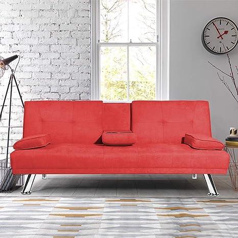 Mieres Sofá Futón Plegable Moderno Con Patas De Metal Y 2 Portavasos Que Se Convierte Rápidamente En Una Cama Cama De Día Para Espacios Pequeños Color Rojo Furniture Decor