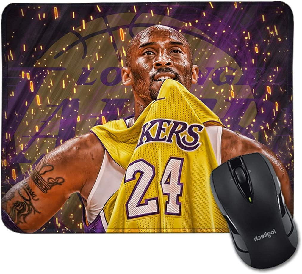 Bryant Lakers Mouse Pad Anti-Slip Rubber Rectangular Mouse Mat Laptops Desktop Office Gift Computer Gaming 9.45x7.87inch
