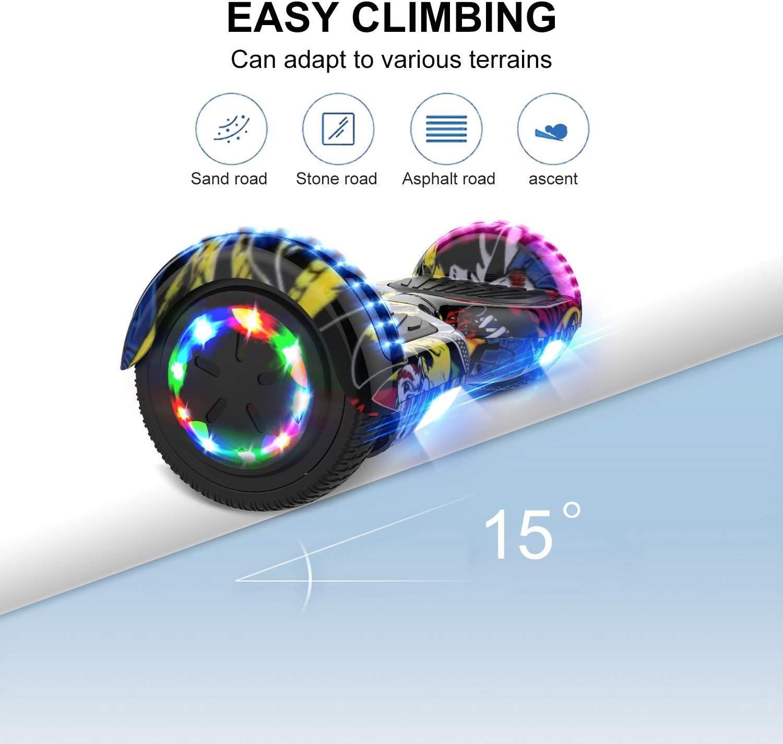 Geschenk f/ür Kinder Elektro Scooter Board mit Bluetooth Lautsprecher GeekMe Hoverboards f/ür Kinder 6,5 Zoll LED Leuchten Elektroroller Jugendliche und Erwachsene