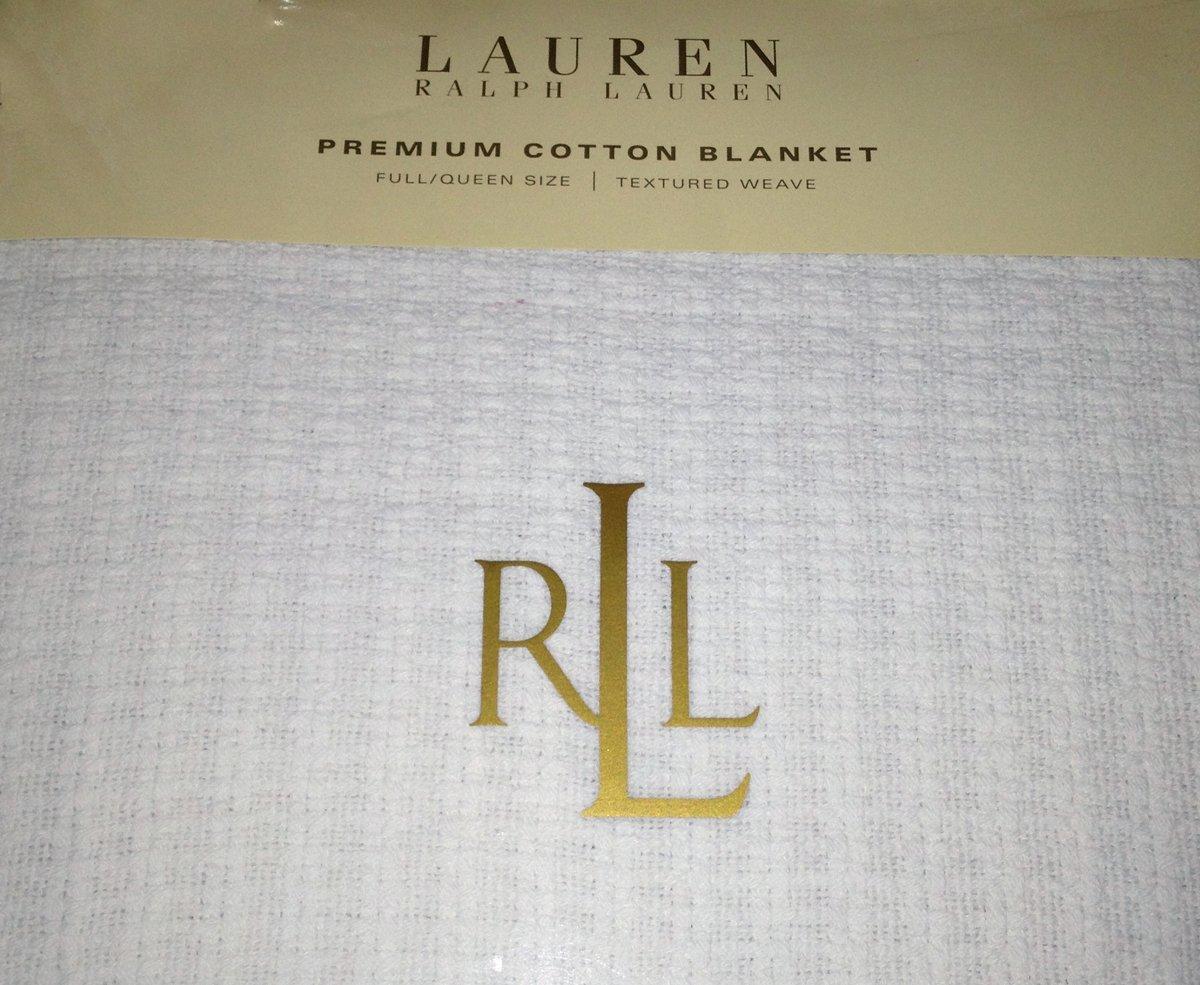 Ralph Lauren Estate Woven Blanketクイーン/ホワイト B007L477OA