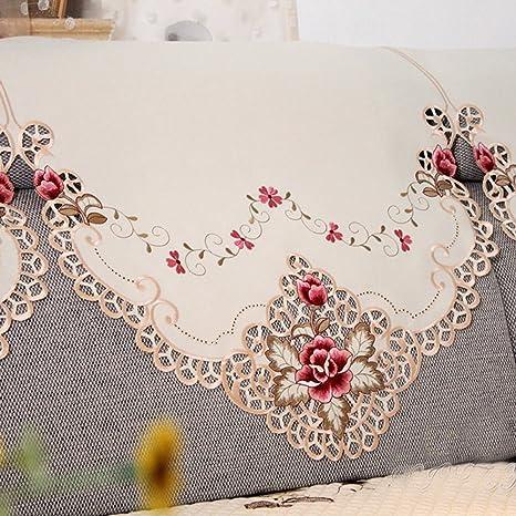 iHAPPY rosa flores bordado Cutwork Funda para sofá silla respaldo toalla, 1-seat,