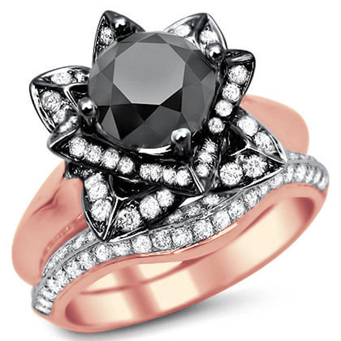 Smjewels 3.35 Ct Round Black Sim.Diamond Lotus Flower Engagement Ring Set In 14K Rose Gold Fn