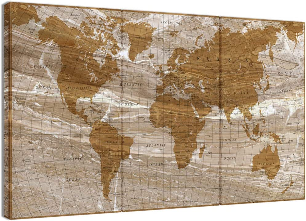 "Visual Art Decor Xlarge Retro Detailed Map of the World Canvas Prints Framed Push Pins World Map Travel Map on Marble Textured Canvas Wall Decor for Home Office Ready to Hang (W-60"" by H-36"" Beige)"