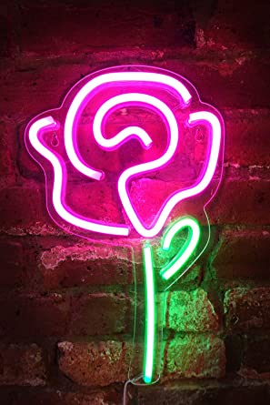 Isaac Jacobs 15 Inch Led Neon Pink Rose Flower With Green Stem Wall