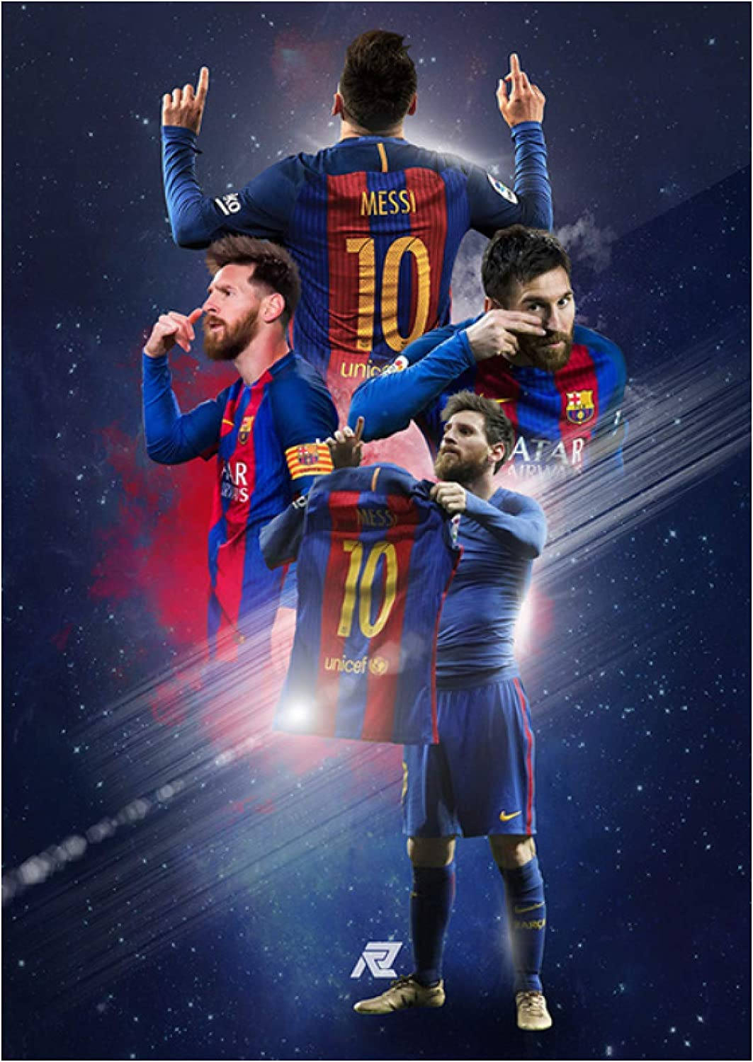 HuaFan Football Player Lionel Messi Canvas Print Painting On Wall Posters and Prints Wall Art Hd Pictures for Living Room Home Decor-24X32 Inch No Frame