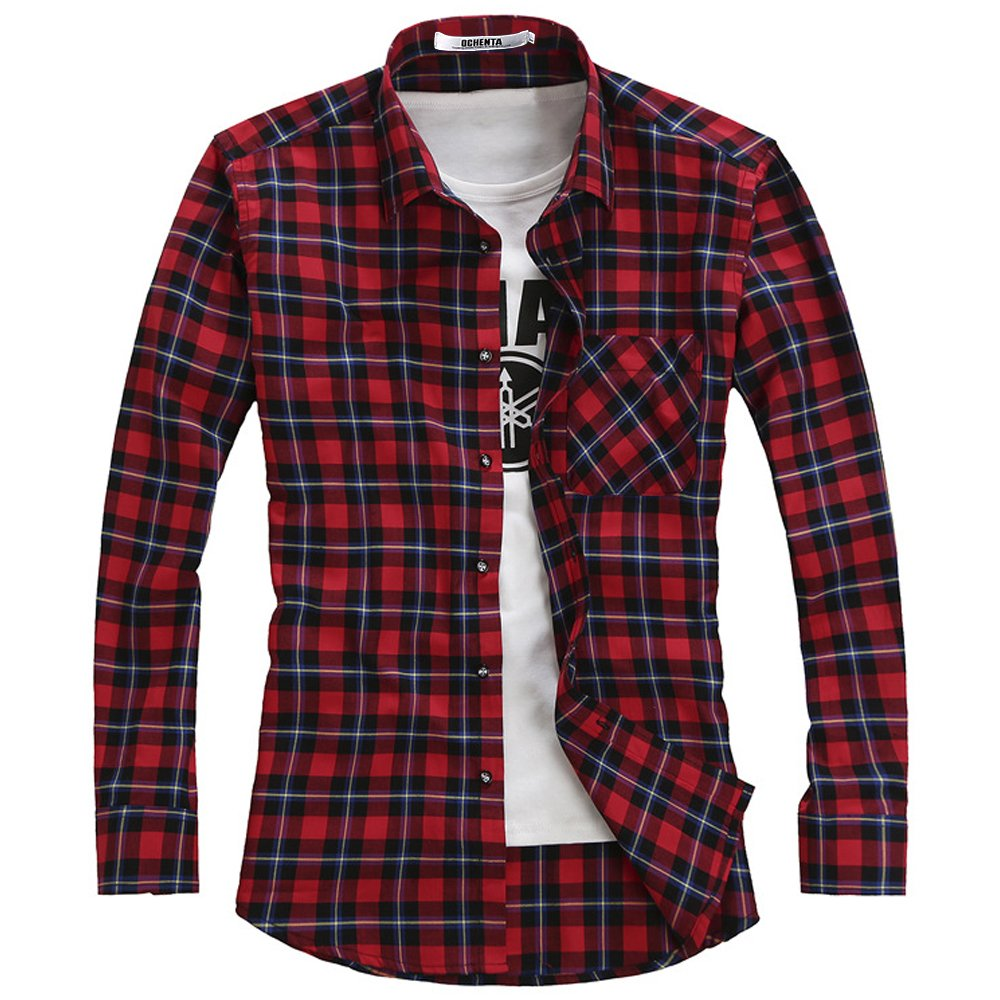 OCHENTA Boy's Long Sleeve Button Down Plaid Flannel Shirt GZCS-E01-New
