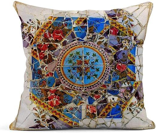 Kinhevao Cojín Mosaico de cerámica en el Parque Guel Barcelona España Paisaje sobre Personas Cojín de Lino Almohada Decorativa para el hogar: Amazon.es: Jardín