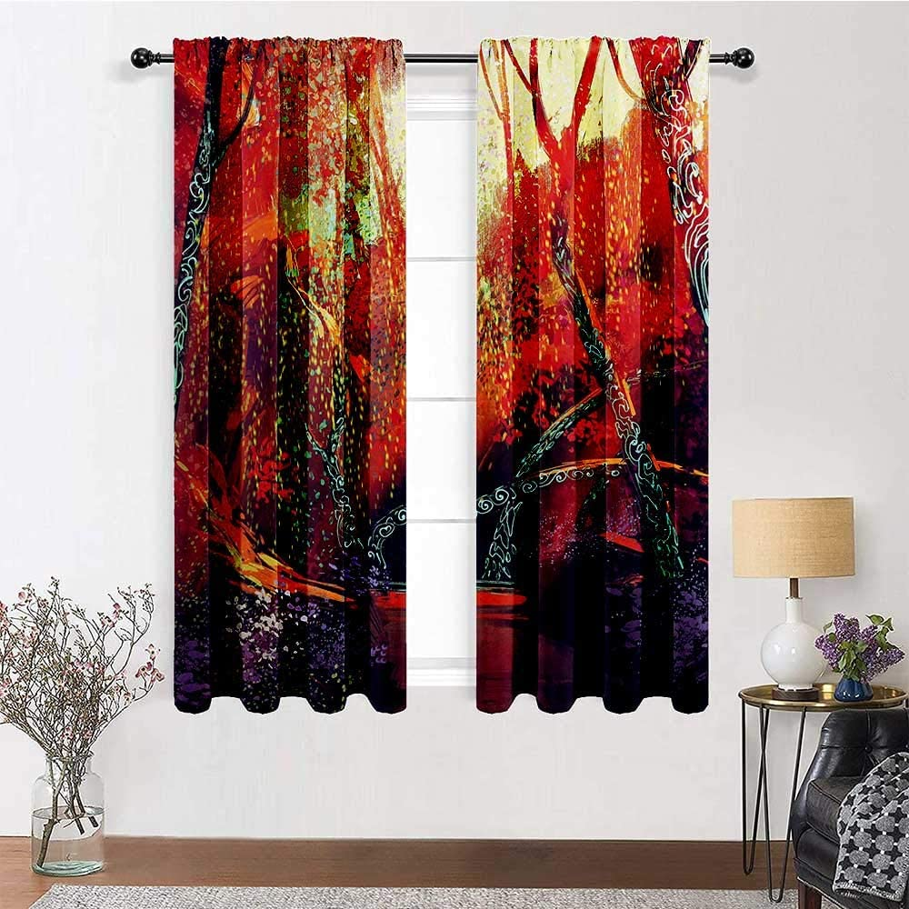 HouseLookHome Living Room Curtain Natural Light Filtering Privacy Drapes Fall Autumn Scenery in Habitat Fairy Tale Woodland Fiction View Home/Office Artistic Décor 2 Rod Pocket Panels, 42