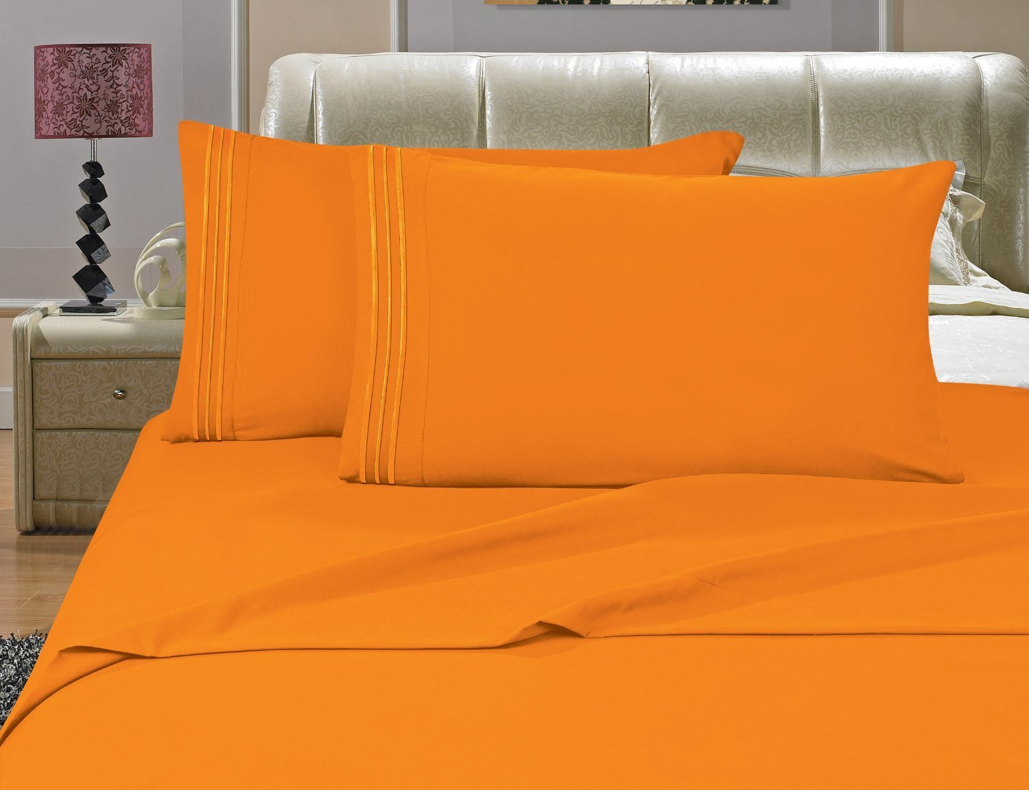 4-Piece Bed Sheet Set , King, Chrysanthemum - Orange