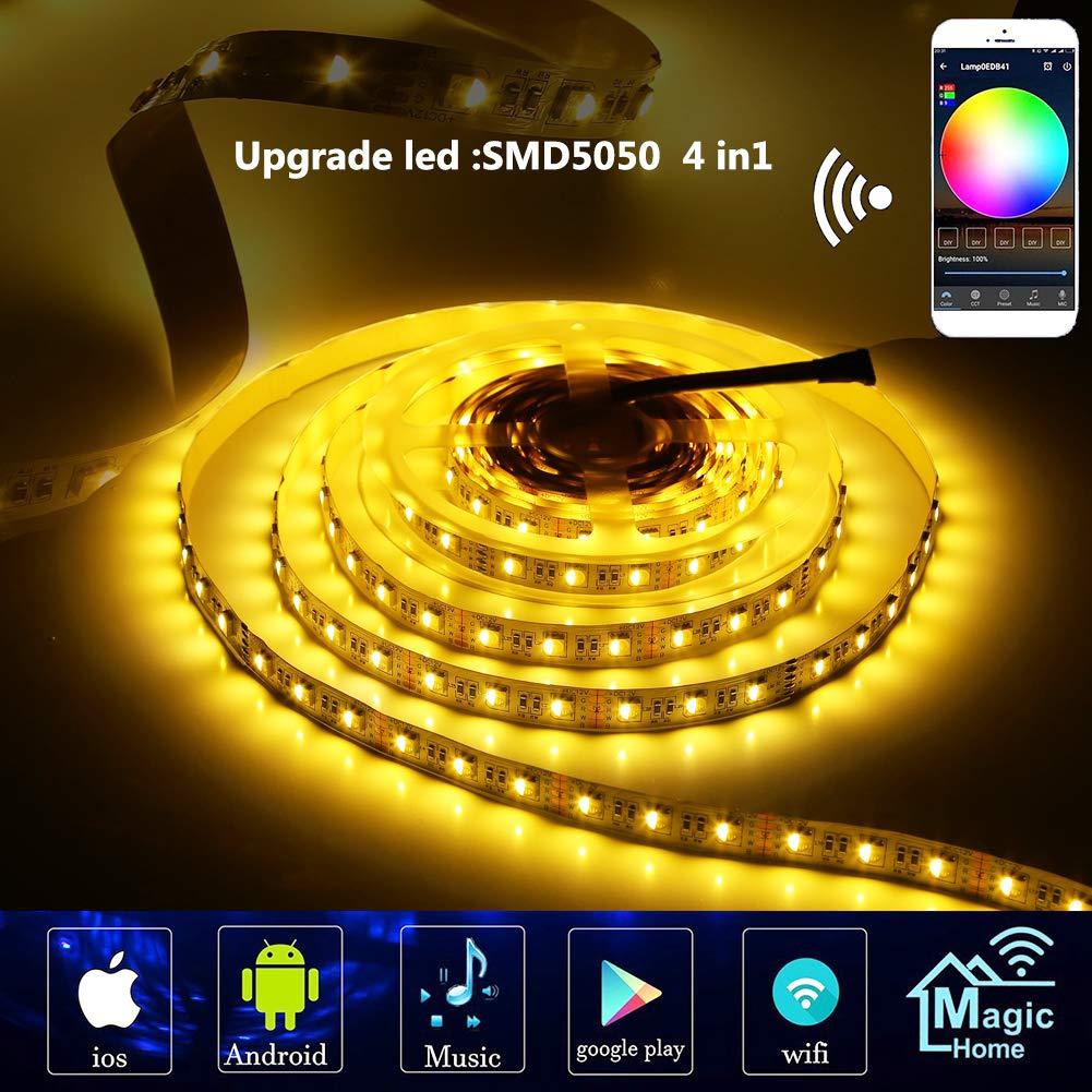 LED Streifen Arbeitet mit Alexa Wifi Wireless Smart Phone Gesteuert Led Strip 5m RGB 300LED SMD5050 Leiste Band Lichtleiste Beleuchtung Full Kit IFTTT Google Home