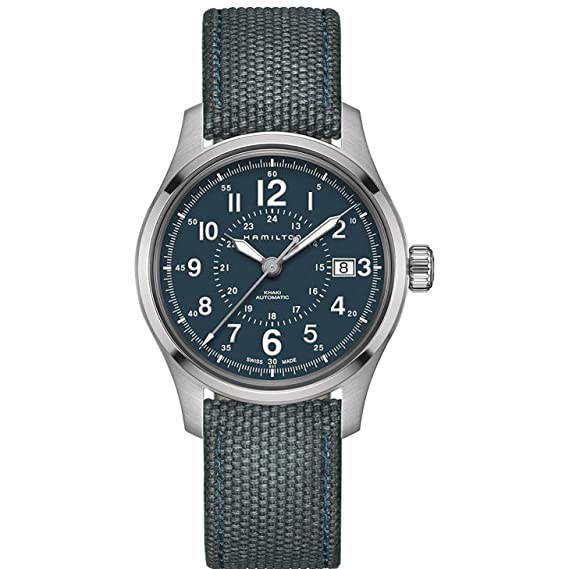 Hamilton h70305943 azul 40 mm acero inoxidable Caqui campo automático Mens Reloj