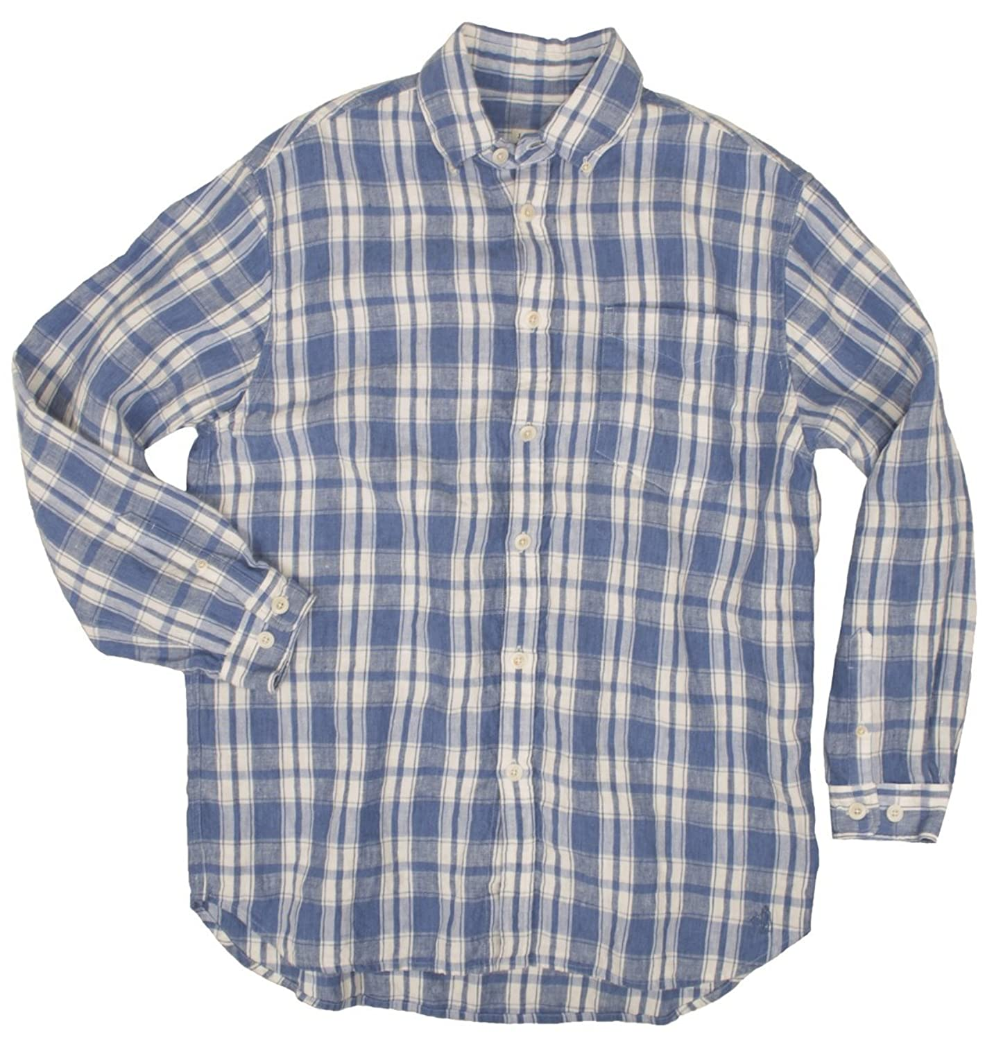 Edwardian Men's Shirts & Sweaters Frontier Linen Plaid Shirt $159.85 AT vintagedancer.com
