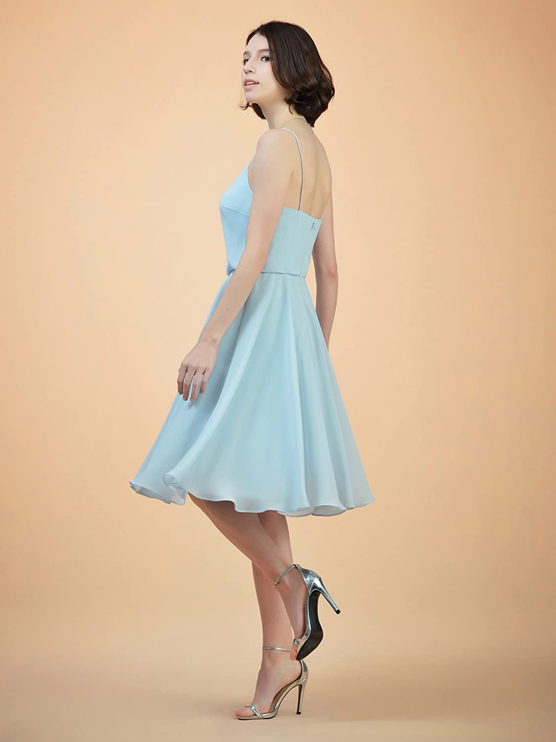 Alicepub Short V-Neck Bridesmaid Dress Chiffon Spaghetti Evening ...