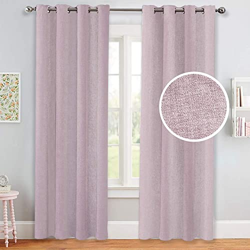 Untrammelife Dusty Pink Curtains for Girls Bedroom, Thermal Insulated Moderate Room Darkening Solid Grommet Top Panels Curtains Drapes for Nursery Sliding Glass Door, 2 Panels, 52×84 inch