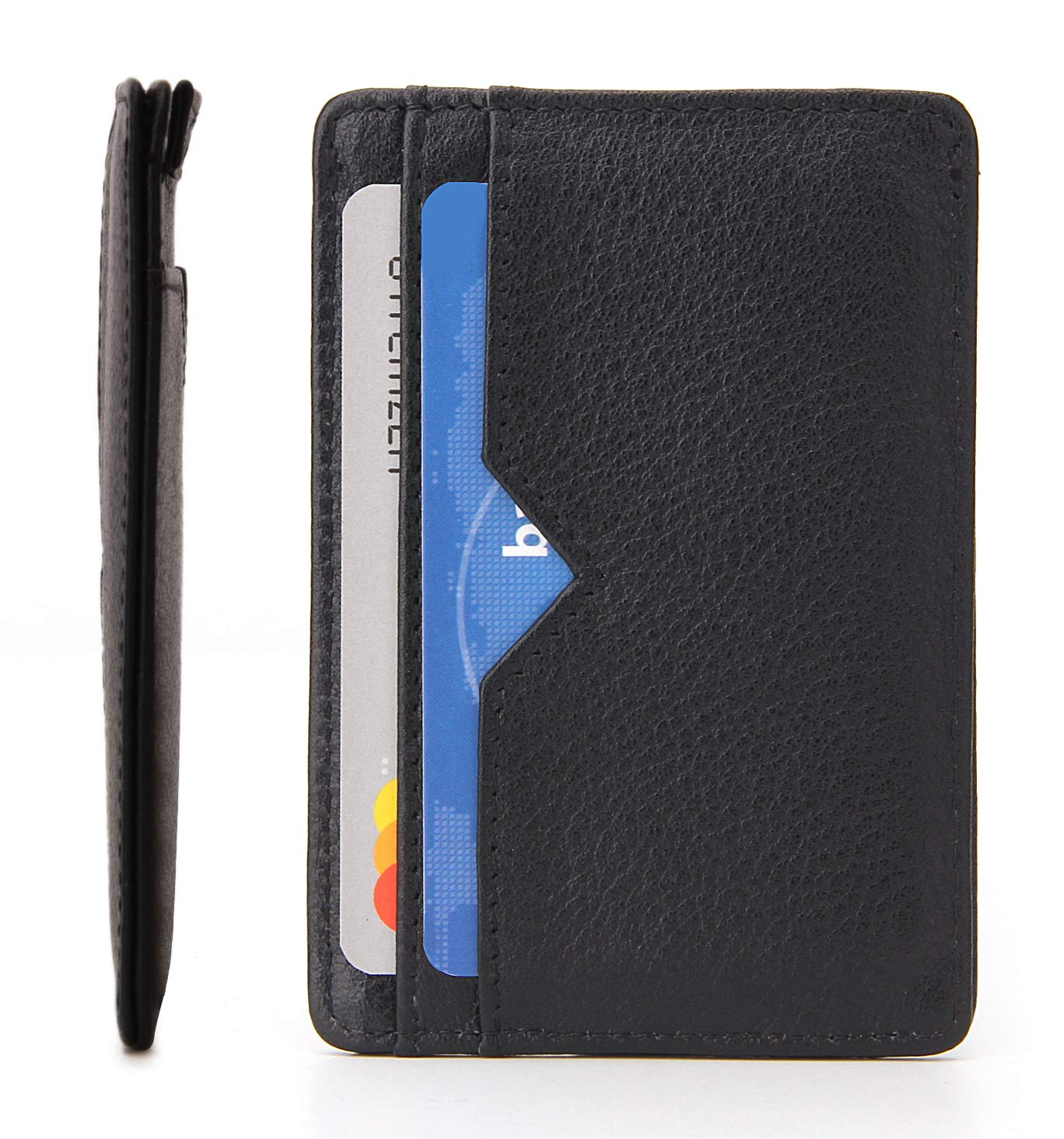 Falcon Vault - RFID Blocking Men\'s Card Holder Wallet - Genuine Italian Leather - 13.56 MHz RFID Protection - Minimalist and Slim Size - Holds Upto 10 Cards - Retractable Strap Design - Black